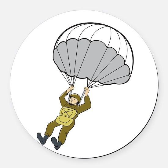 American Paratrooper Parachute Cartoon Round Car M