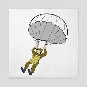 American Paratrooper Parachute Cartoon Queen Duvet