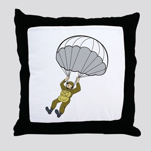 American Paratrooper Parachute Cartoon Throw Pillo