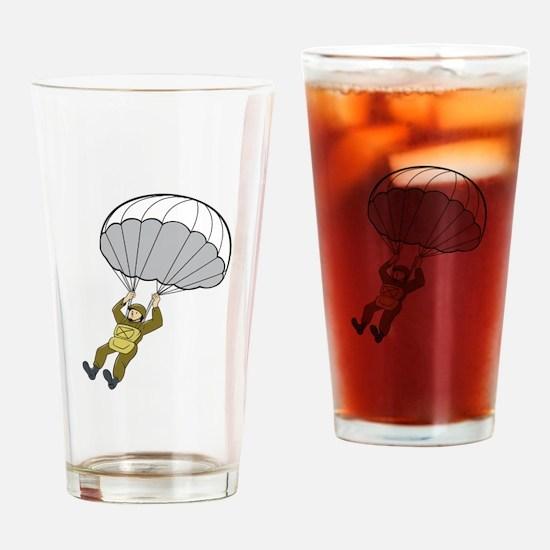 American Paratrooper Parachute Cartoon Drinking Gl