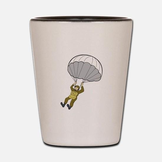 American Paratrooper Parachute Cartoon Shot Glass