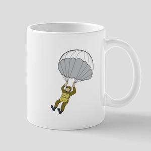 American Paratrooper Parachute Cartoon Mugs