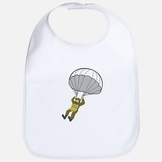 American Paratrooper Parachute Cartoon Bib