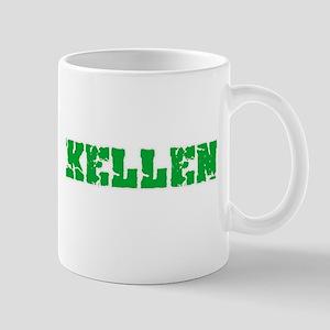 Kellen Name Weathered Green Design Mugs