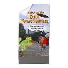 Invasion of the Killer Tomato Squirrel Beach Towel