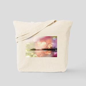 Pink Santa Monica Pier Tote Bag
