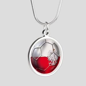 Poland Football Silver Round Necklace