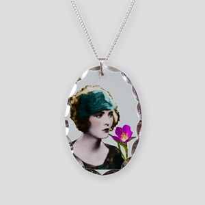 Art Deco Woman Green Hairband Necklace Oval Charm