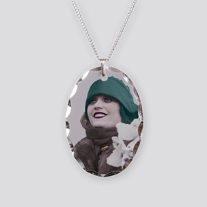 Art Deco Woman in green hat Necklace Oval Charm