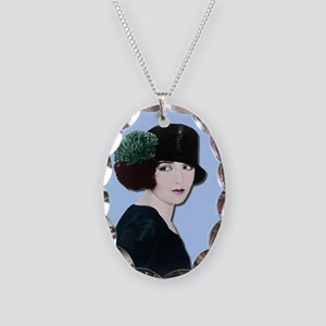 Art Deco Woman in black hat Necklace Oval Charm