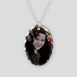 Art Deco Woman in fur coat Necklace Oval Charm