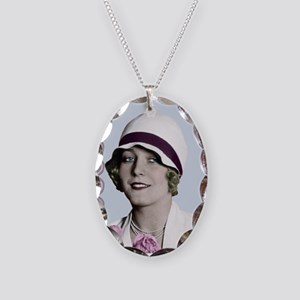Art Deco Woman in White Hat Necklace Oval Charm
