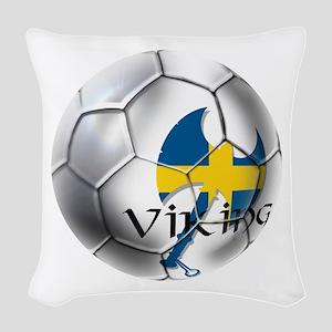 Sweden Soccer Ball Woven Throw Pillow