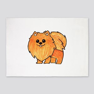 Orange Pomeranian 5'x7'Area Rug
