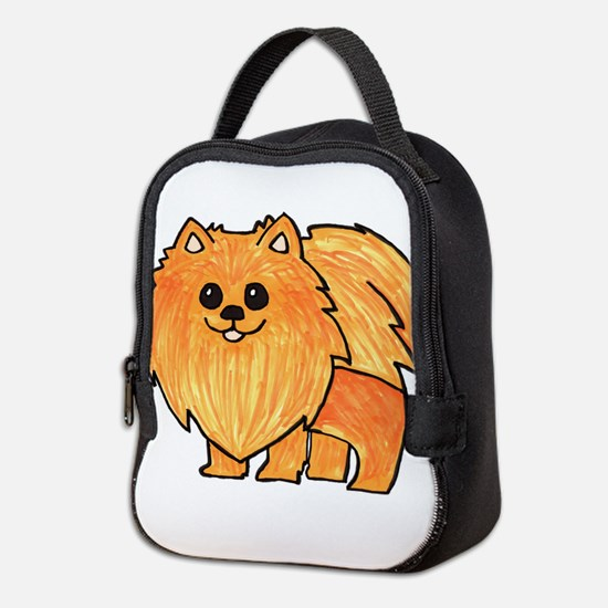 Orange Pomeranian Neoprene Lunch Bag