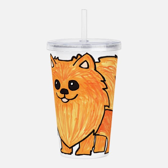 Orange Pomeranian Acrylic Double-wall Tumbler