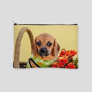 Valentina the Puggle Puppy in an Autumn Makeup Bag