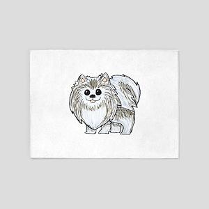 Silver Wolf Pomeranian 5'x7'Area Rug