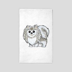 Silver Wolf Pomeranian Area Rug