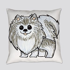 Silver Wolf Pomeranian Everyday Pillow