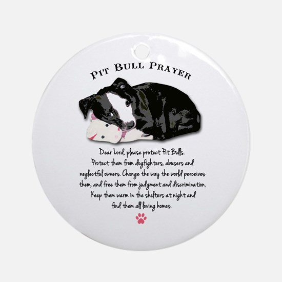 Pit Bull Prayer Round Ornament