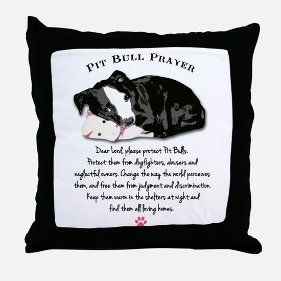 Pit Bull Prayer Throw Pillow