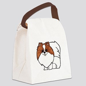 Chocolate Parti Pomeranian Canvas Lunch Bag