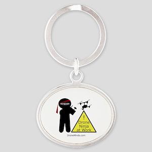 Drone Ninja at Work! Oval Keychain