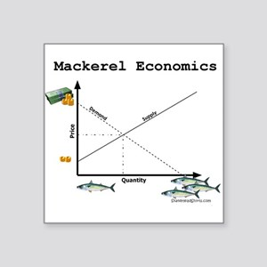 "Mackerel_Economics Square Sticker 3"" x 3"""