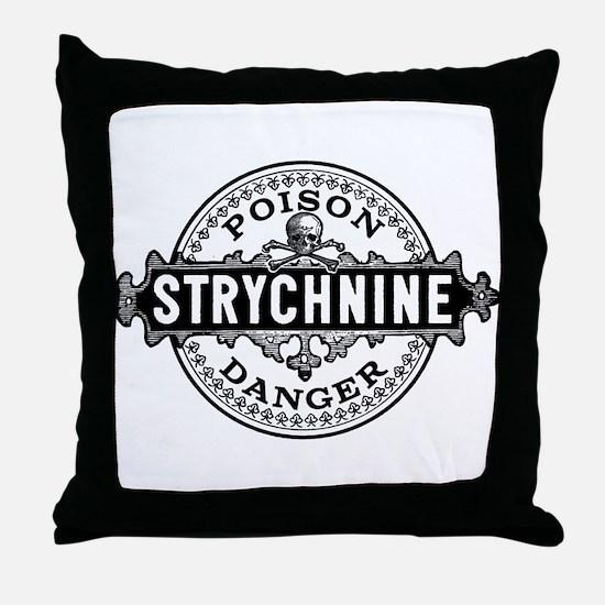 Halloween Poison Label Strychnine Throw Pillow