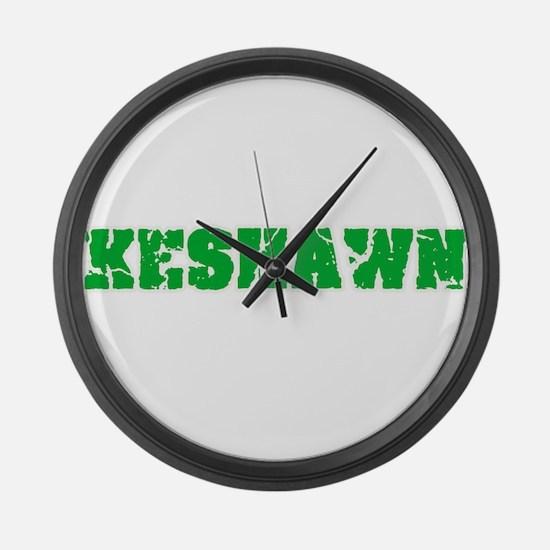 Keshawn Name Weathered Green Desi Large Wall Clock