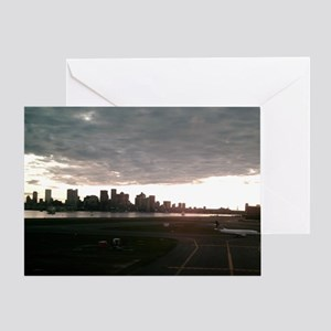 Boston Skyline from Airport Greeting Card