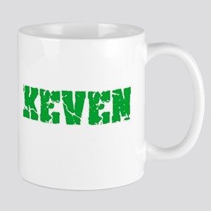 Keven Name Weathered Green Design Mugs