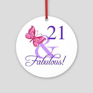 Fabulous 21st Birthday Round Ornament
