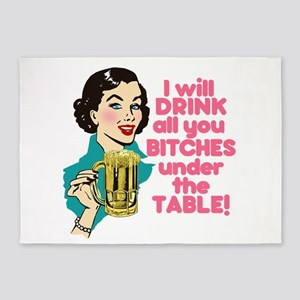 Party Drinking Humor 5'x7'Area Rug