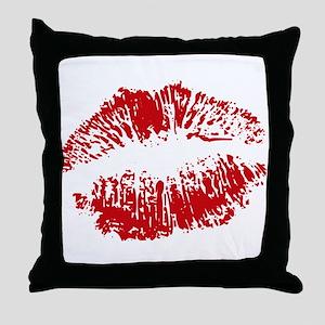 Lips Red Lipstick Kiss Throw Pillow