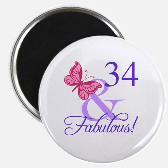 Fabulous 34th Birthday Magnet