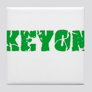 Keyon Name Weathered Green Design Tile Coaster