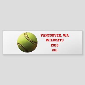 Yellow Softball Team Design Bumper Sticker