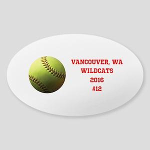 Yellow Softball Team Design Sticker