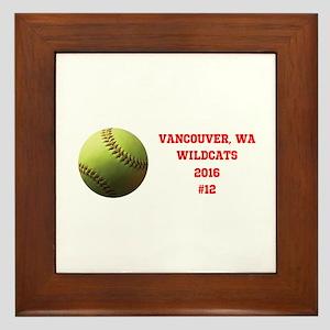Yellow Softball Team Design Framed Tile