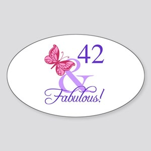 Fabulous 42nd Birthday Sticker (Oval)