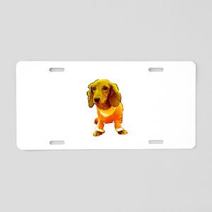 Dachshund Orange Bernadette Aluminum License Plate