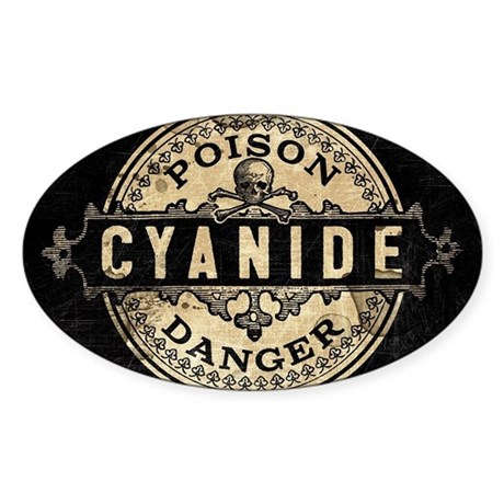 Vintage Style Cyanide Sticker (Oval)