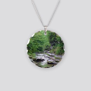 forest river scenery Necklace Circle Charm
