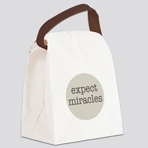 Expect Miracles (Gray Design) Canvas Lunch Bag