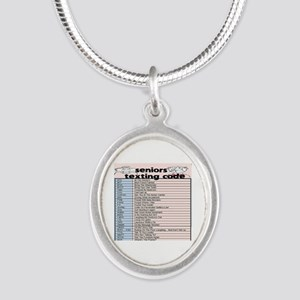 senior texting code Silver Oval Necklace