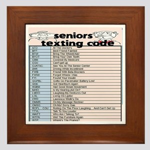 senior texting code Framed Tile