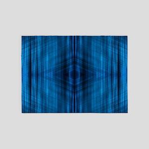 modern beach blue batik 5'x7'Area Rug