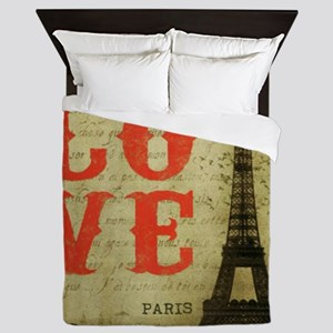 I Love Paris Queen Duvet